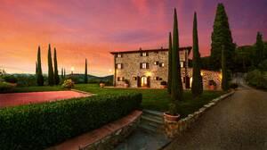 House Italy Mansion Tree Tuscany 2560x1440 Wallpaper