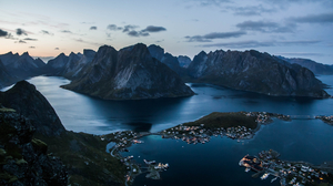 Bay Lofoten Islands Norway Reine Sea 3000x2000 Wallpaper