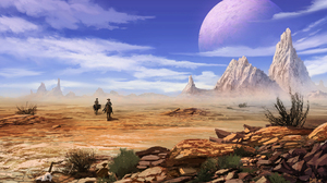 Digital Art Desert Rocks Clouds Cowboys Planet 1920x1080 Wallpaper