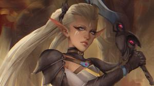 Blonde Blue Eyes Elf Girl Long Hair Pointed Ears Sword Woman Warrior 2576x2111 Wallpaper
