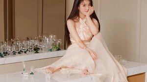 IU Iu Lee Ji Eun Women Women Indoors Indoors Looking At Viewer Barefoot Drinking Glass Dress Painted 1943x1295 wallpaper