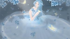 Women Butterfly Wedding Dress Fantasy Art Fantasy Girl Blue Hair Long Hair Anime Anime Girls Leaves  1920x1280 Wallpaper
