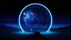 Black Holes Stars Mustang Car Camaro Nebula Galaxy Universe Portal Space 3840x2160 Wallpaper