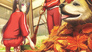 Broom Dog Maple Leafs Gym Clothes Red Eyes Hair Pins Schoolgirl Ponytail Anime Girls Fall 1920x1300 Wallpaper