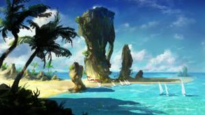 Beach Boat Horizon Ocean Palm Tree Rock Scenic Sky 1920x1080 Wallpaper
