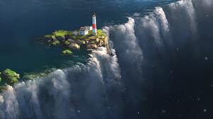 Artwork Fantasy Art Waterfall Island Lighthouse Water Nature 1920x1027 Wallpaper