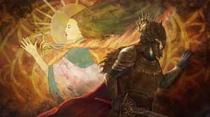 Veronica ONeill Digital Art Fantasy Art Sword Knight Flaming Sword Sun 3150x1658 Wallpaper