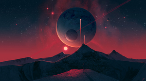 JoeyJazz Space Art Science Fiction Planet Sky Stars Digital Art Artwork Mountains Landscape DeviantA 2560x1440 Wallpaper