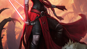 Darren Tan Asajj Ventress Women Sith Star Wars USA Standing Lightsaber Star Wars Villains Science Fi 1273x1800 Wallpaper