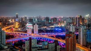 China Building Road Panorama Night City Huangpu 2048x1152 Wallpaper