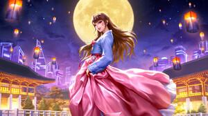 Jungmin Jin Drawing Overwatch D Va Overwatch Brunette Long Hair Wind Women Skirt Pink Clothing Blue  1920x1182 Wallpaper