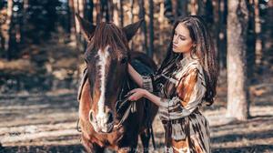 Anton Harisov Women Brunette Long Hair Makeup Eyeshadow Dress Animals Horse Forest Trees Nature 2048x1152 wallpaper
