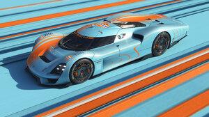 Porsche Porsche 908 04 Gulf Car Concept Car Lines Sports Car CGi Light Blue Orange Vehicle 2800x1574 Wallpaper