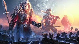Angel Giant God Mask Spear Sword Warrior 7000x3938 Wallpaper