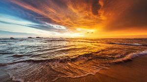 Waves Sand Beach Coast Rocks Clouds Sky Sunset Horizon Indian Ocean Sri Lanka 1920x1080 wallpaper