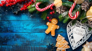 Merry Christmas Cookie Gingerbread Candy Cane Wood 2560x1453 wallpaper