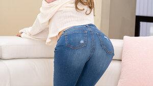 Women Jeans Indoors Long Hair Brunette Torn Jeans Women Indoors 2000x3000 wallpaper