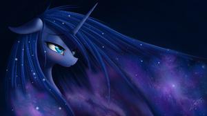 My Little Pony Princess Luna Fantasy Art Horns Blue Purple Stars 1970x1080 Wallpaper