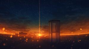 Elizabeth Miloecute Digital Art Starry Night Sunrise Sunset Phone Box Road Cityscape 1920x1063 Wallpaper