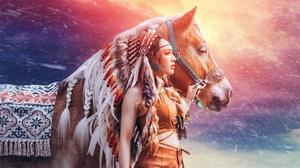 Asian Girl Headdress Horse Model Native American Woman 2048x1170 Wallpaper