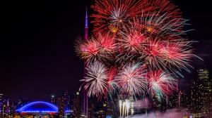 Canada City Fireworks Light Night Toronto 5120x3200 Wallpaper