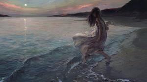 Anime Tentwo Anime Girls Beach Barefoot Dress Sun Dress Dark Hair 3399x1750 Wallpaper