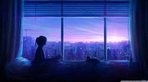 Anime Girls View From Window Anime Bed City Window RicoDZ 1920x1080 Wallpaper