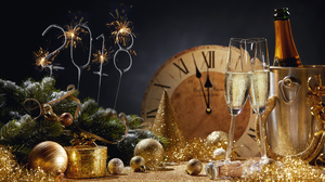 Alcohol Celebration Champagne Drink Golden New Year New Year 2018 6720x3799 Wallpaper