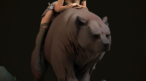 Maria Panfilova Artwork Digital Art Render Fantasy Girl Women Black Background Fantasy Art Bears Ani 2309x2506 wallpaper