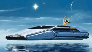 Artwork Painting Science Fiction Ship Moon 2422x1080 Wallpaper