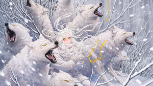 Anime Anime Girls Wolf Winter Blonde Long Hair Ribbons Snow Mittens Yellow Eyes Scarf Howling 2200x1584 Wallpaper