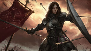 Armor Arrow Banner Battle Brown Hair Shield Sword Woman Warrior 1920x1328 wallpaper