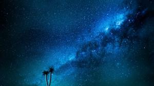 Galaxy Stars Milky Way Palm Trees Andromeda Space Nebula 5120x2880 Wallpaper
