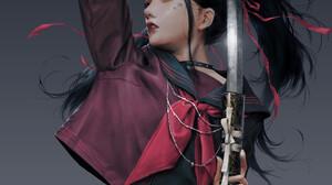Vinci R Parted Lips Katana Portrait Display Women Digital Art Drawing Samurai Sword Simple Backgroun 1920x2715 wallpaper