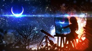 Girl Night Moon Telescope Stars Painting 3072x1833 Wallpaper