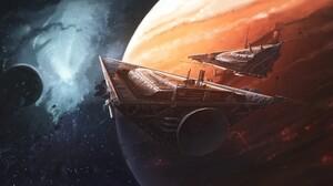 Planet Space Spaceship 3840x1920 Wallpaper