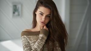 Blue Eyes Brunette Girl Long Hair Model Woman 2560x1707 Wallpaper