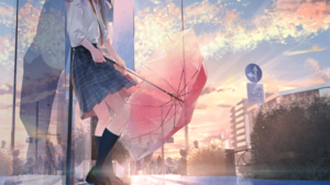 Anime Girls Umbrella Leaning Reflection Sky School Uniform Sousou 1000x1333 Wallpaper