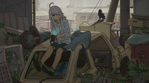 Anime Anime Girls White Hair Red Eyes Camera Mess Trash Crow Scooters Shima 2346x1320 Wallpaper