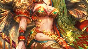 Black Hair Sword Gold Red Green Dragon Altar Tajima Yukie 1000x1464 wallpaper