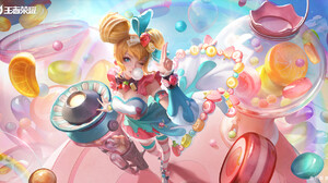 3Q Studio Drawing Women Blonde Blue Eyes Wink Blue Clothing Cyan Clothing High Angle Sweets Candy Ca 1920x978 Wallpaper