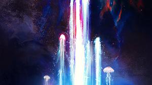 T1na Stars Fountain Women Space Jellyfish Digital Art 1414x2000 Wallpaper