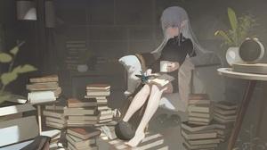 Anime Anime Girls Room Books Pointy Ears Barefoot 3795x2139 wallpaper