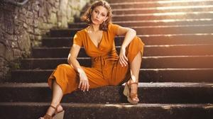 Women Model Stairs Women Outdoors Sitting Brunette Shoulder Length Hair Orange Dress Jumpsuit Wedge  2048x1365 Wallpaper