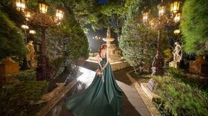Asian Model Women Women Outdoors Long Hair Dark Hair Depth Of Field Green Dress Garden Trees Bushes  2560x1703 Wallpaper