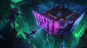 Futuristic City Futuristic Artwork Cyberpunk Hologram Helicopter Cityscape High Angle 3840x2157 Wallpaper