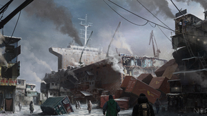 Post Apocalyptic Wreck 5588x2813 Wallpaper