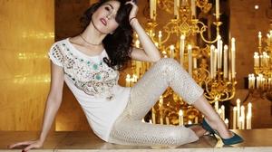 Sati Kazanova Women Singer Russian Russian Women Model Brunette Heels Hand On Head Dark Hair 3000x2000 Wallpaper