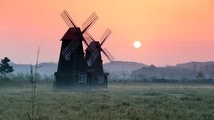 Building Fog Sunrise Windmill 4608x3072 wallpaper