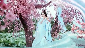 Asian Blossom Brunette Flute Girl Kimono Model Woman 2048x1210 Wallpaper